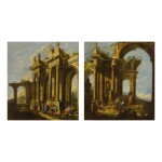 ATTRIBUTED TO PIETRO CAPELLI | A PAIR OF CAPRICCIO SCENES WITH TEMPLE RUINS AND FIGURES SWIMMING, DRINKING FROM A FOUNTAIN, AND SOCIALIZING