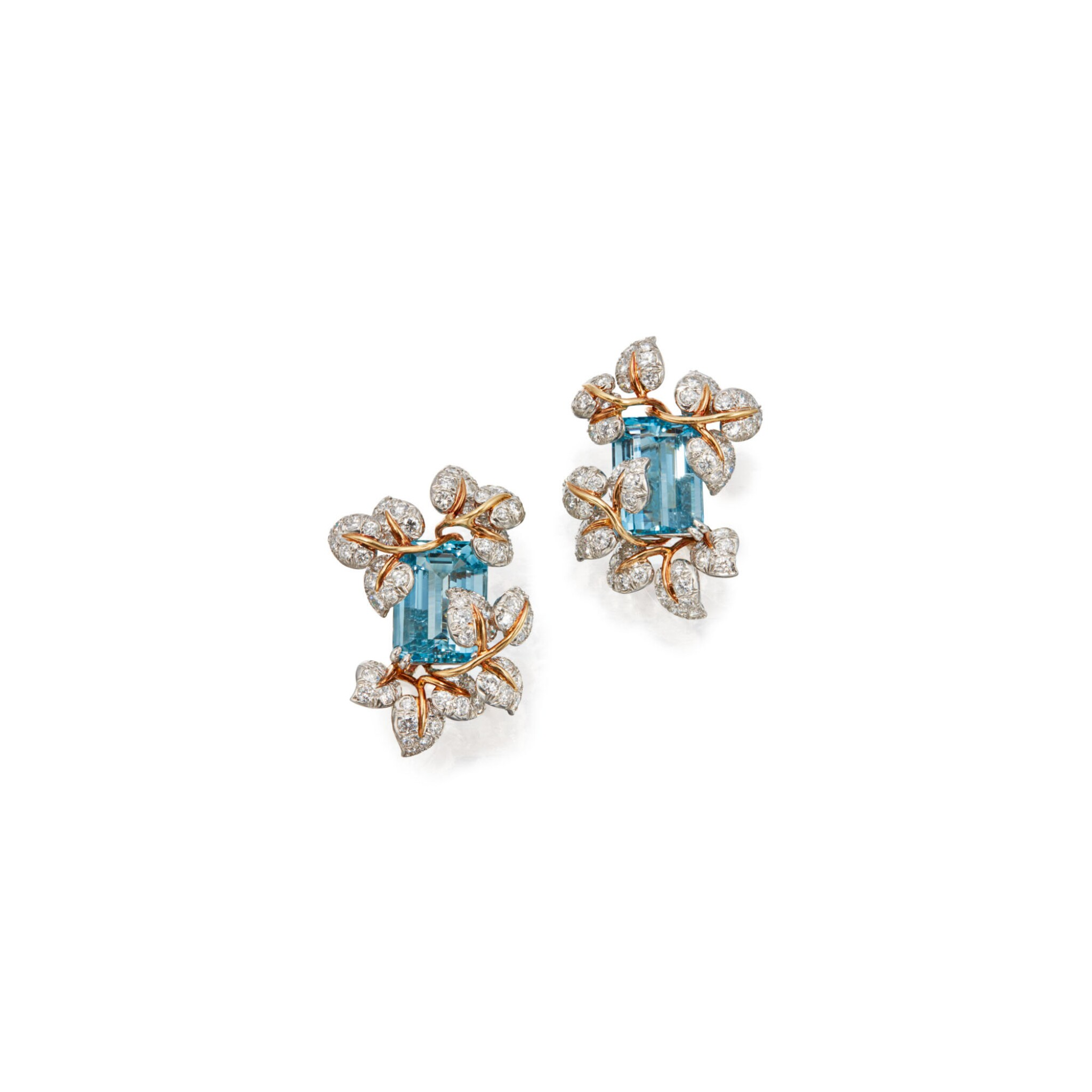 View full screen - View 1 of Lot 99. PAIR OF AQUAMARINE AND DIAMOND EARCLIPS, TIFFANY & CO..