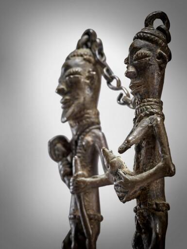 View 2. Thumbnail of Lot 71. Pair of Yoruba Ogboni Edan Figures, Nigeria.