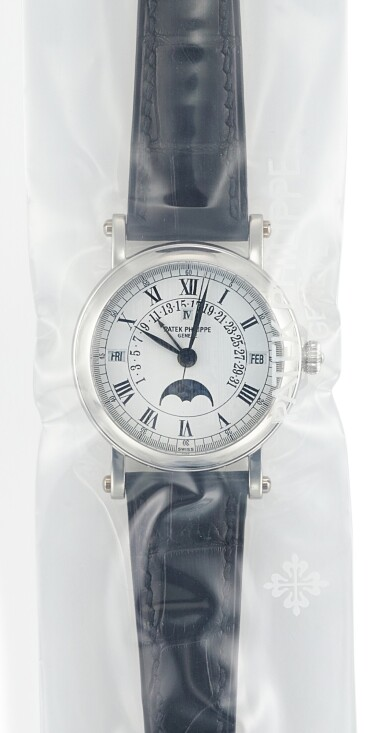 PATEK PHILIPPE | REFERENCE 5059, A PLATINUM PERPETUAL CALENDAR WRISTWATCH WITH RETROGRADE DATE, MOON PHASES AND LEAP YEAR INDICATION IN SINGLE FACTORY SEAL, CIRCA 2005