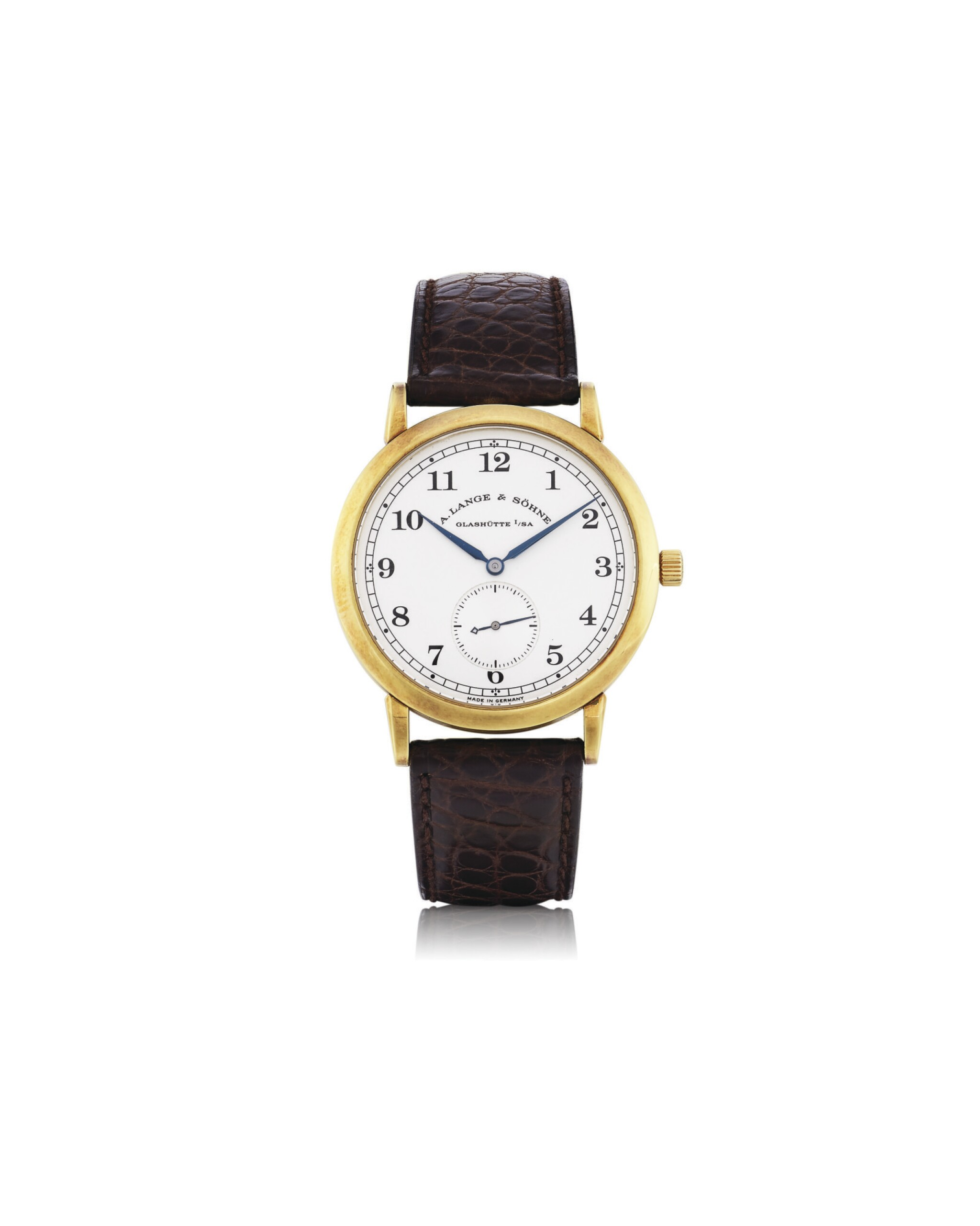 View full screen - View 1 of Lot 15. A. LANGE & SÖHNE | 1815, REF 206021 YELLOW GOLD WRISTWATCH CIRCA 1997.