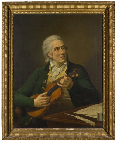 CIRCLE OF FRANCOIS-XAVIER FABRE | Portrait of a gentleman, traditionally identified as Henry Swinburne (1743- 1803), three-quarter-length, seated at a table with a quill and musical manuscript, holding a violin
