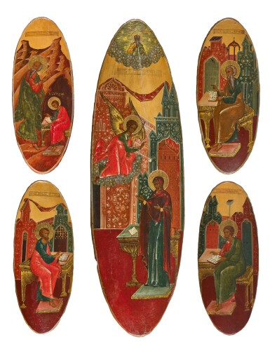 A complete set with the Annunciation and the Four Evangelist, Old Believers workshop, Russia, late19th century