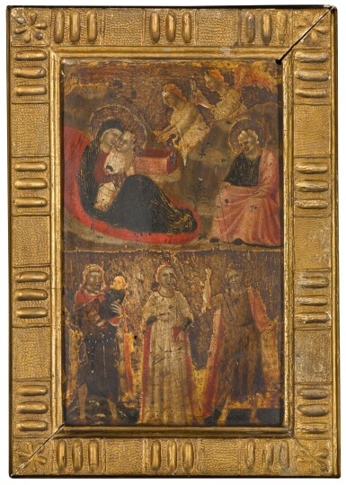 View 2. Thumbnail of Lot 109. Riminese School, circa 1320 | The Nativity; Saint Christopher, Saint John the Baptist and a female saint.