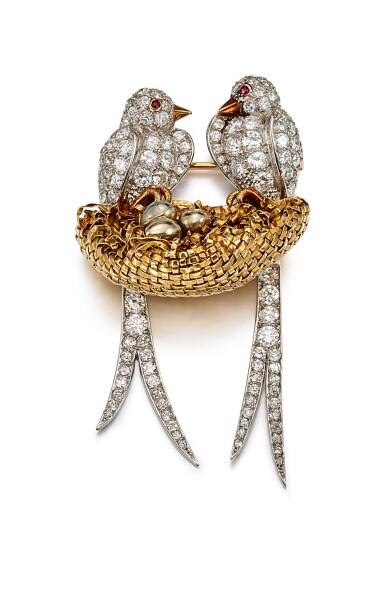 View 1. Thumbnail of Lot 9105. DIAMOND AND RUBY BROOCH, VAN CLEEF & ARPELS   鑽石 配 紅寶石 別針, 梵克雅寶(Van Cleef & Arpels).