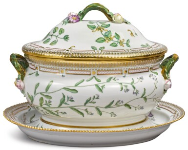View 1. Thumbnail of Lot 150. A ROYAL COPENHAGEN 'FLORA DANICA' OVAL TUREEN, COVER AND STAND, MODERN.