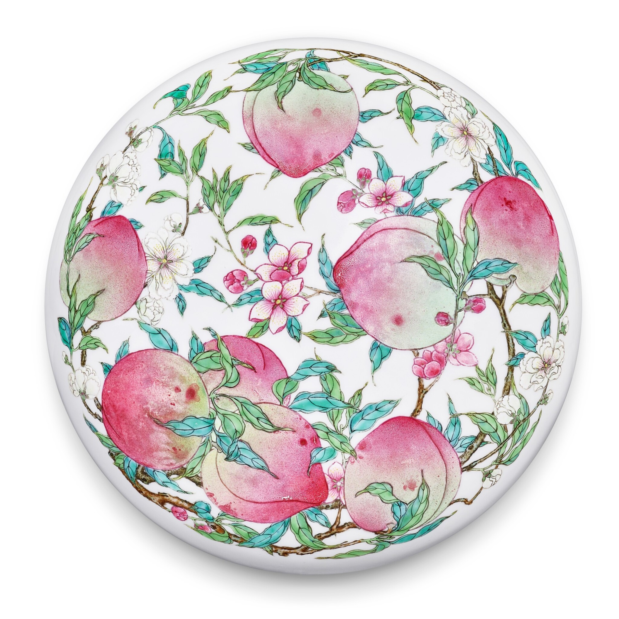 View full screen - View 1 of Lot 3656. A superbly enamelled and possibly unique famille-rose 'peach' box and cover, Mark and period of Yongzheng   清雍正 粉彩蟠桃獻壽圖圓蓋盒 《大清雍正年製》款.