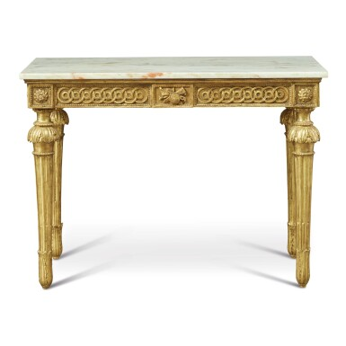 View 2. Thumbnail of Lot 921. AN ITALIAN NEOCLASSICAL GILTWOOD CONSOLE TABLE WITH LATER MARBLE TOP, CIRCA 1800.