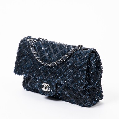 View 3. Thumbnail of Lot 41. Dark Blue and Black Classic Single Flap in Quilted Leather and Sequins with Ruthenium Hardware, 2012-2013.
