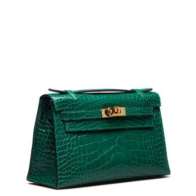 View 2. Thumbnail of Lot 71. Cactus Kelly Pochette in Shiny Alligator Mississippiensis with Gold Hardware, 2012.