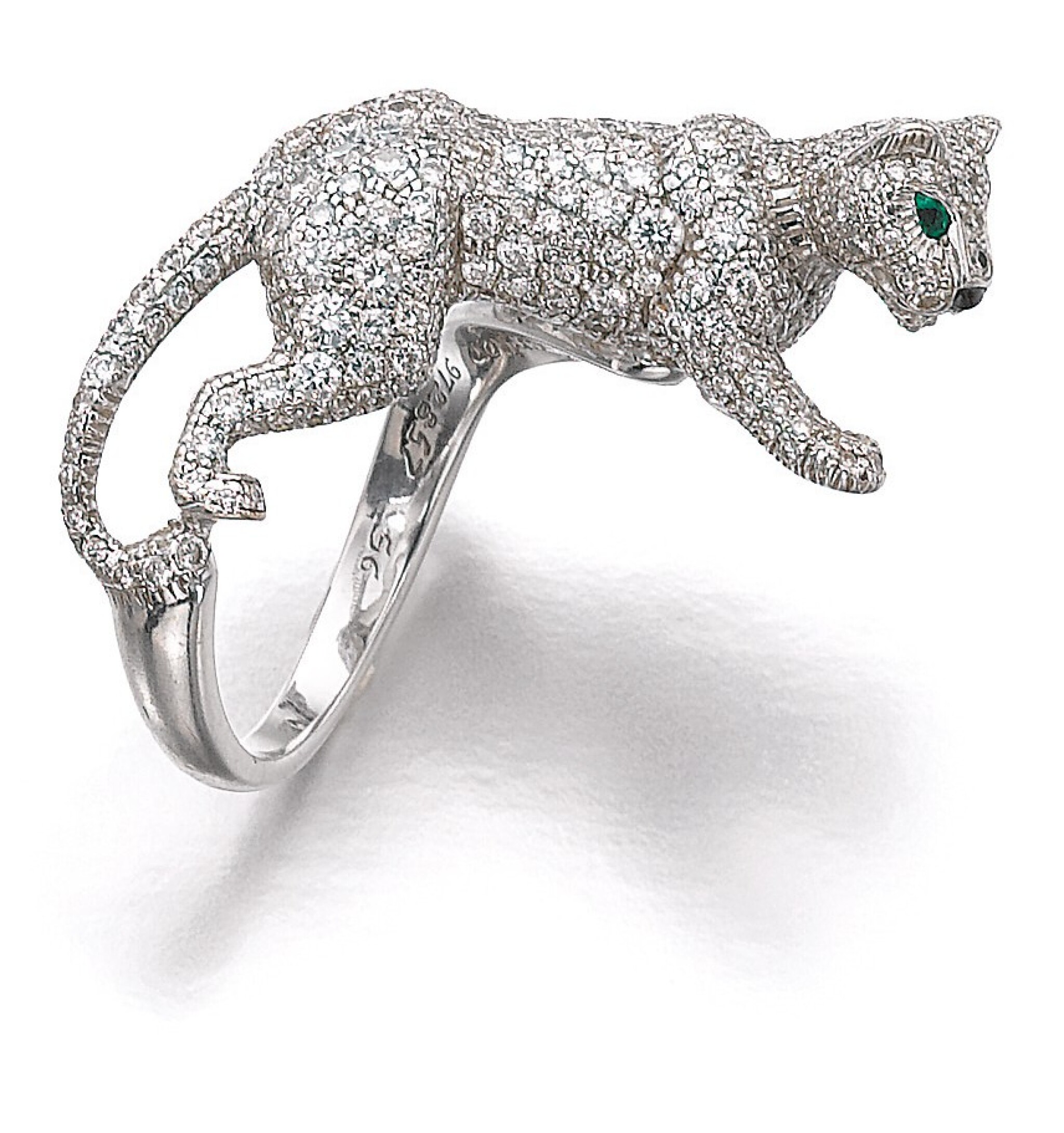 View full screen - View 1 of Lot 1101. Emerald, onyx and diamond ring, 'Panthère'.