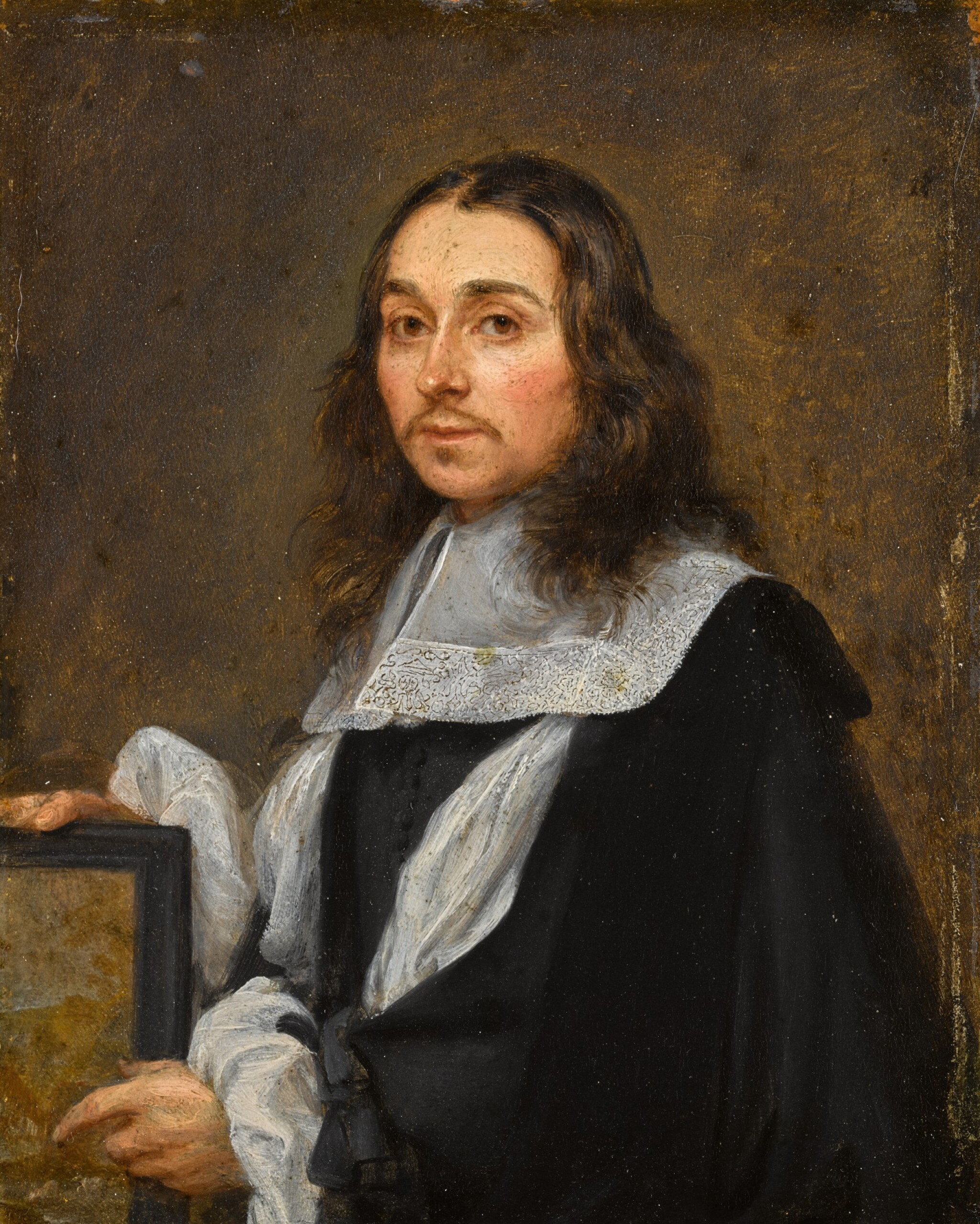 View full screen - View 1 of Lot 32. Flemish School, circa 1660 | Portrait of a gentleman, half-length, pointing at a painting, traditionally said to be Gonzales Coques.