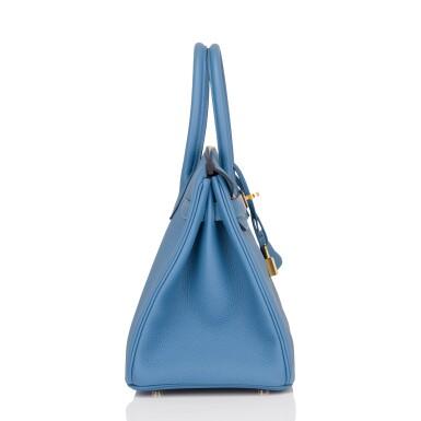 View 3. Thumbnail of Lot 22. Hermès Bleu Azur Birkin 30cm of Togo Leather with Gold Hardware.