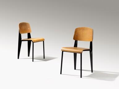 View 2. Thumbnail of Lot 7. Pair of Standard chairs, model no. 305, circa 1950.