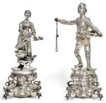 A PAIR OF GERMAN SILVER FIGURAL FLASKS CUM BEAKERS, PSEUDO MARKS, POSSIBLY J.D. SCHLEISSNER & SOHNE, HANAU, CIRCA 1890