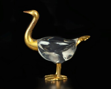 View 3. Thumbnail of Lot 103. A rare and large fragmentary gilt-bronze figure of a goose, Han dynasty | 漢 銅鎏金鴻雁殘部.