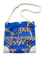 Printed silk and white leather with palladium hardware shoulder bag, Silkcity Sac, Hermès, 2011