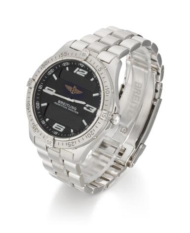 BREITLING   AEROSPACE, REFERENCE J65362,  WHITE GOLD MINUTE-REPEATING CHRONOGRAPH WRISTWATCH WITH DIGITAL DISPLAY, DATE AND BRACELET, CIRCA 2005