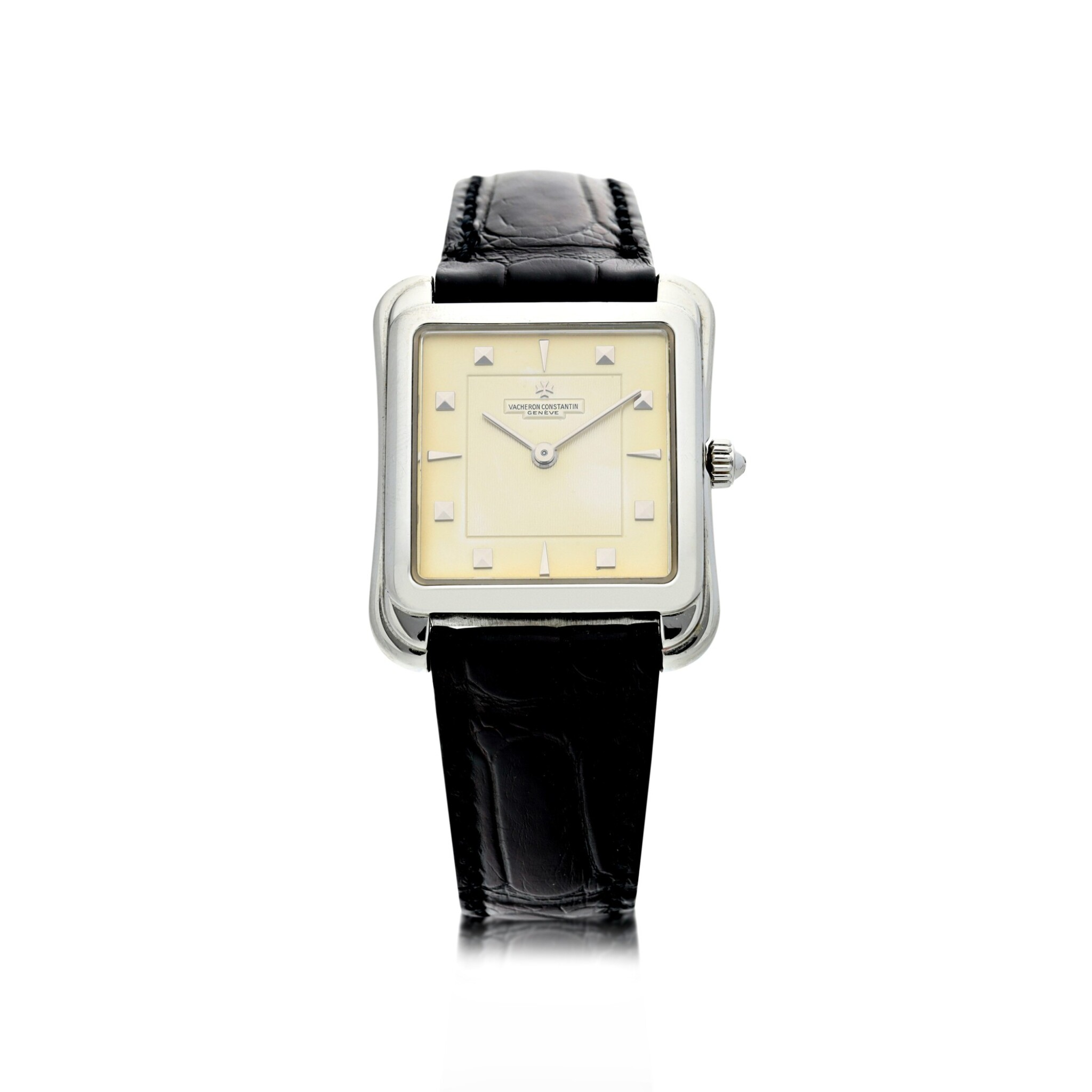 View full screen - View 1 of Lot 53. REFERENCE 31100 TOLEDO A PLATINUM SQUARE SHAPED WRISTWATCH, CIRCA 1993.