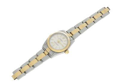 View 6. Thumbnail of Lot 82. REFERENCE 76193 OYSTER PERPETUAL A STAINLESS STEEL AND YELLOW GOLD AUTOMATIC WRISTWATCH WITH BRACELET, CIRCA 2001.