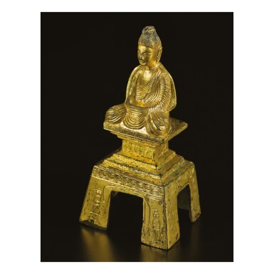View 2. Thumbnail of Lot 588. A GILT-BRONZE FIGURE OF A SEATED BUDDHA,  NORTHERN WEI DYNASTY, DATED TAIHE SECOND YEAR, CORRESPONDING TO 478.