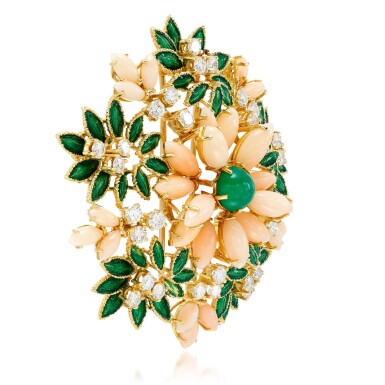 View 2. Thumbnail of Lot 47. Coral, enamel, chrysoprase and diamond brooch, 1960s.