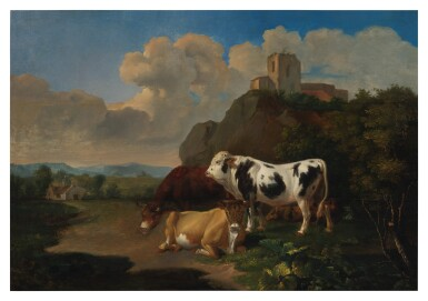 View 1. Thumbnail of Lot 94. Sold Without Reserve | DUTCH SCHOOL, 19TH CENTURY | A LANDSCAPE WITH CATTLE AND RUINS BEYOND.