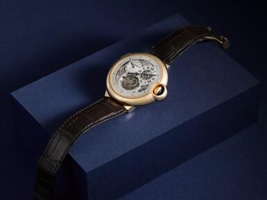 View 8. Thumbnail of Lot 13. Ballon Bleu, Ref. 3326 Limited edition pink gold tourbillon wristwatch with dual time indication Circa 2009.