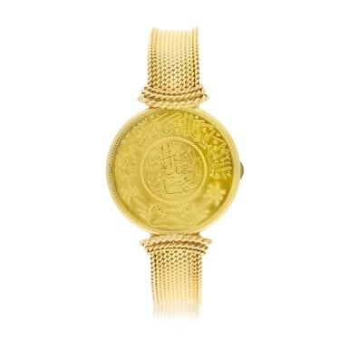 View 2. Thumbnail of Lot 66. A yellow gold coin bracelet watch, Circa 1970.
