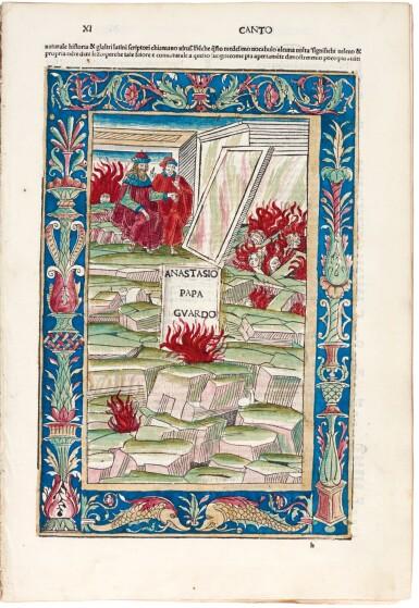 View 4. Thumbnail of Lot 183. Dante, La Commedia, Brescia, 1487, hand-coloured, disbound.