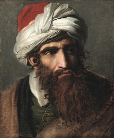 View 1. Thumbnail of Lot 109. PIERRE-NOLASQUE BERGERET  |  PORTRAIT OF A MAN IN A TURBAN, THREE-QUARTER PROFILE.