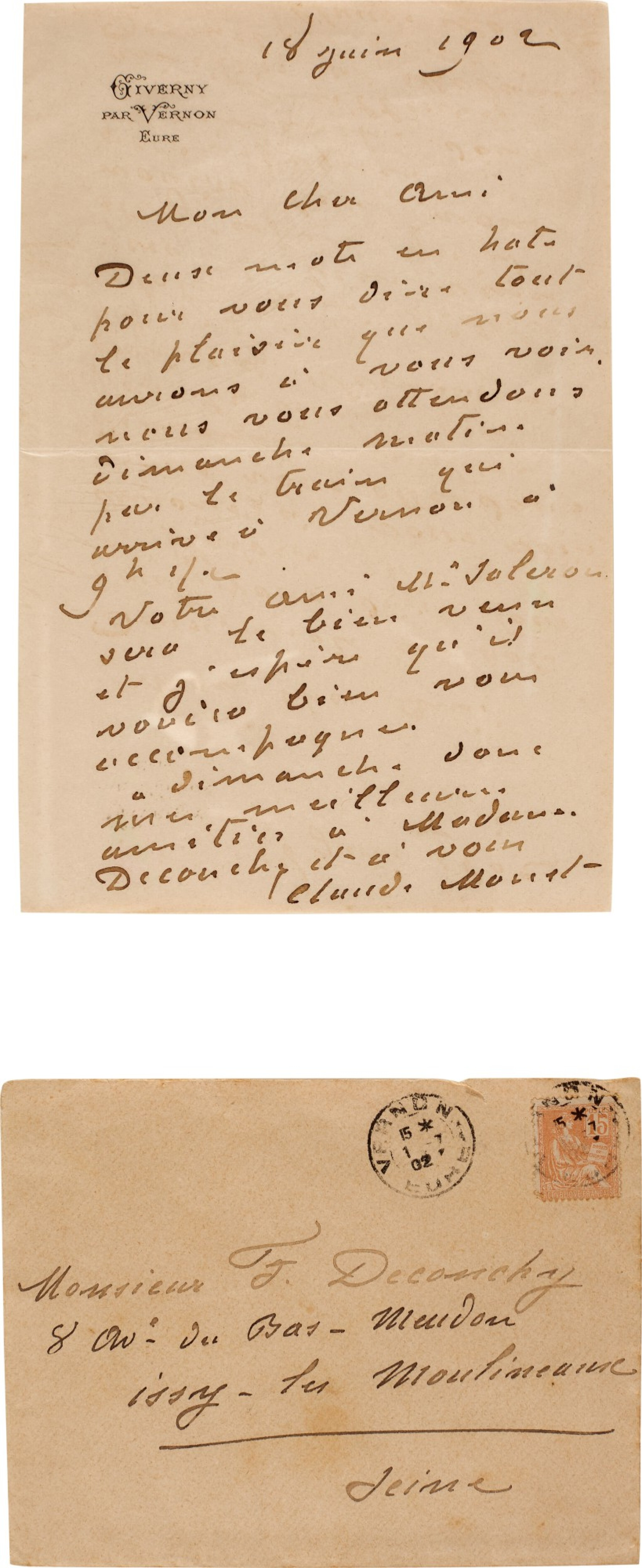 View full screen - View 1 of Lot 73. Monet | Autograph letter signed (''Claude Monet''), to the painter Ferdinand Deconchy, Giverny, 1902.