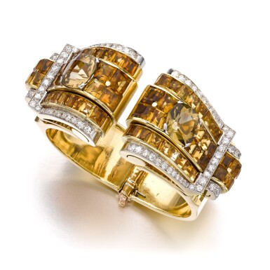 View 1. Thumbnail of Lot 695. Janesich | Pair of citrine and diamond clips/bangle combination, circa 1940 | Janesich | 黃水晶配鑽石別針/手鐲組合一對,約1940年.