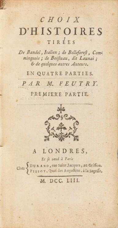 View 3. Thumbnail of Lot 80. Le Chef d'œuvre d'un inconnu. [Avec:]. FEUTRY. Choix d'histoires. Aux armes de la comtesse de Provence..