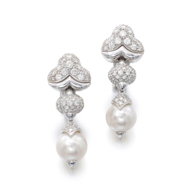 View 1. Thumbnail of Lot 1150. Pair of cultured pearls and diamond ear clips.