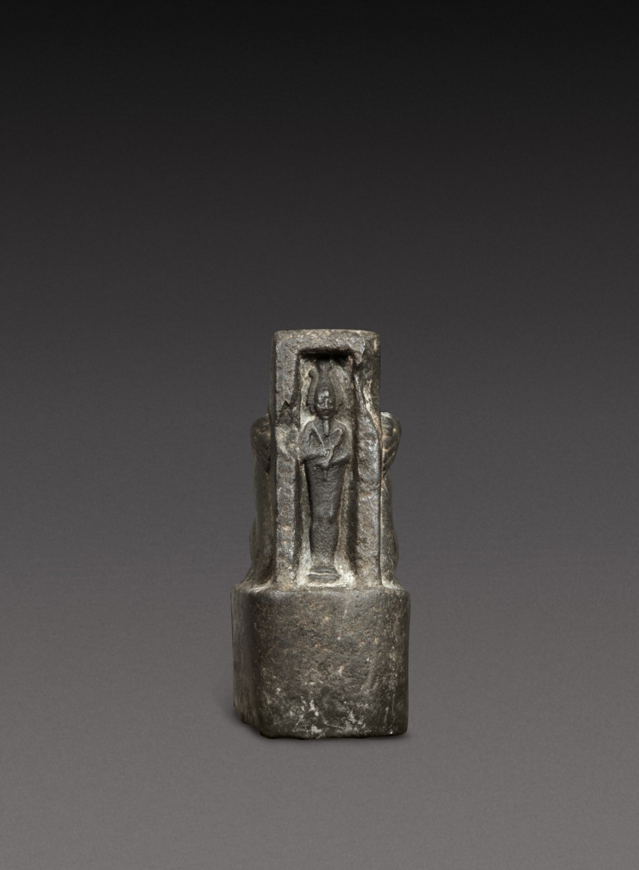 View 1 of Lot 47. A Fragmentary Egyptian Basalt Naophoros, 1st half of the 26th Dynasty, circa 664-600 B.C..