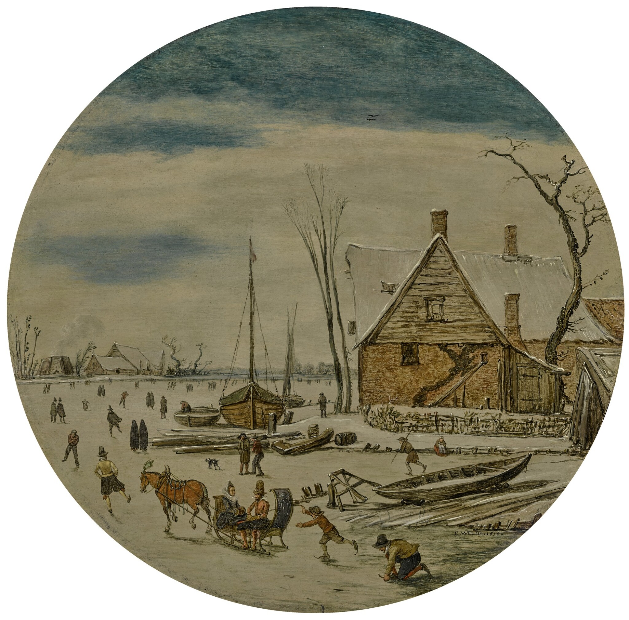View full screen - View 1 of Lot 115. ESAIAS VAN DE VELDE | WINTER LANDSCAPE WITH SKATERS AND A FARM HOUSE.