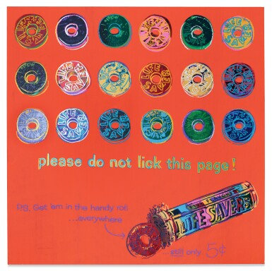 View 1. Thumbnail of Lot 44. ANDY WARHOL   LIFESAVERS (FROM ADS).