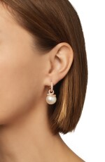 PAIR OF CULTURED PEARL AND DIAMOND EARRINGS