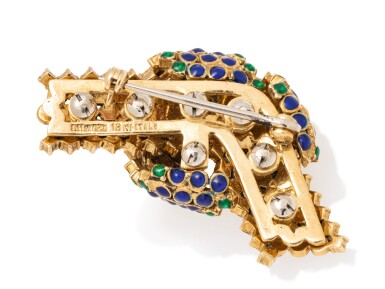 View 4. Thumbnail of Lot 21. TIFFANY & CO.   GOLD AND ENAMEL BROOCH.