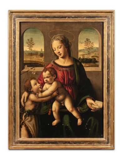 View 2. Thumbnail of Lot 8. The Virgin and Child with Saint John the Baptist.