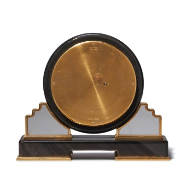 View 4. Thumbnail of Lot 56. AN OBSIDIAN, MOTHER OF PEARL, ROCK CRYSTAL AND GILT BRASS DESK TIMEPIECE, CIRCA 1980.
