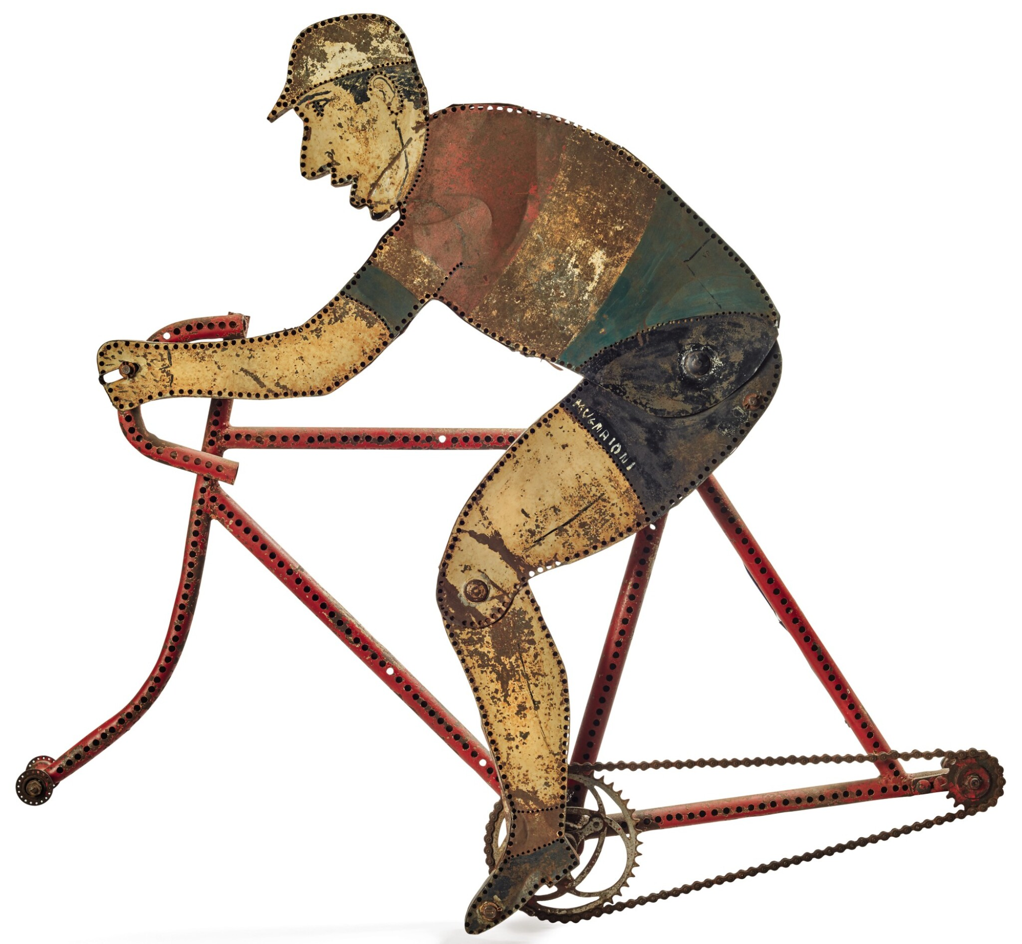 View full screen - View 1 of Lot 1465. POLYCHRME PAINT-DECORATED SHEET IRON BICYCLE TRADE SIGN, CIRCA 1930-50.