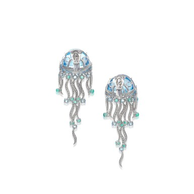 View 3. Thumbnail of Lot 22. Pair of topaz, emerald and diamond ear clips, 'Jellyfish'.