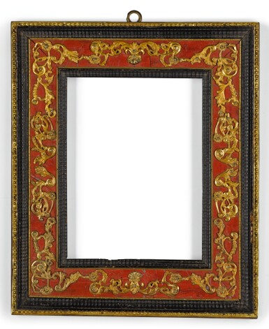 AN ITALIAN GILT-BRASS MOUNTED AND ROSSO ANTICO MARBLE PARCEL-GILT EBONY FRAME EARLY 18TH CENTURY
