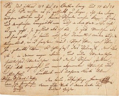 View 1. Thumbnail of Lot 62. F. Schubert. Autograph letter to his brother Ferdinand, 4 pages, Zseliz, 1818.