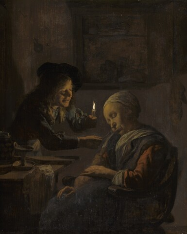 JAN VERKOLJE THE ELDER | A sleeping old woman teased by a youth with a candle