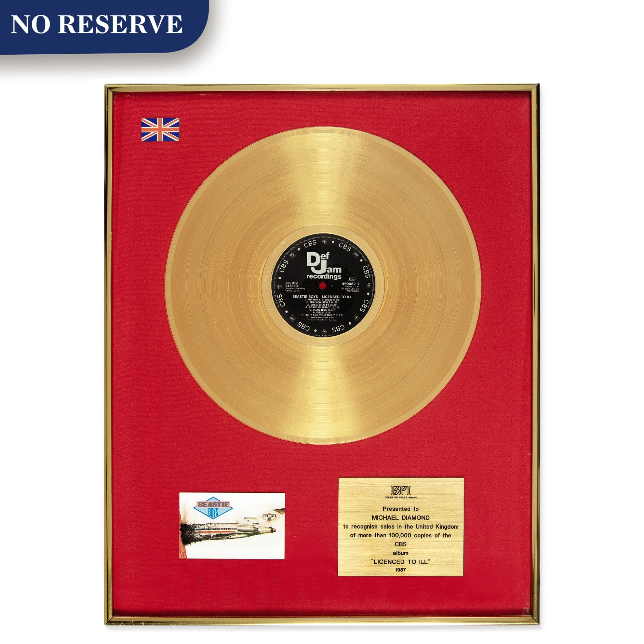 "View full screen - View 1 of Lot 304. BPI 1987 Gold Sales Award presented to Michael Diamond for the 1986 Beastie Boys album ""Licensed to Ill""."