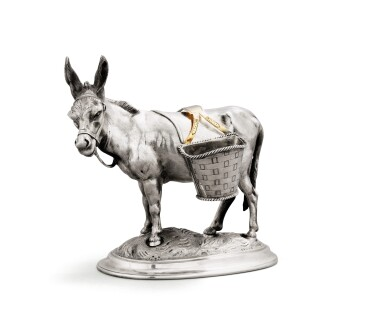 View 2. Thumbnail of Lot 32. A German parcel-gilt silver novelty condiment modelled as a donkey, Johann H.P. Schott Söhne, Frankfurt am Main, circa 1860,.