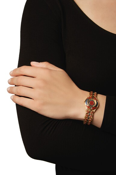 View 4. Thumbnail of Lot 50. GOLD, CORAL, SAPPHIRE AND DIAMOND WRISTWATCH, MAUBOUSSIN.